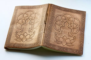 Lotus Flower of Life Buddha Tan Leather Journal - BohoEntice