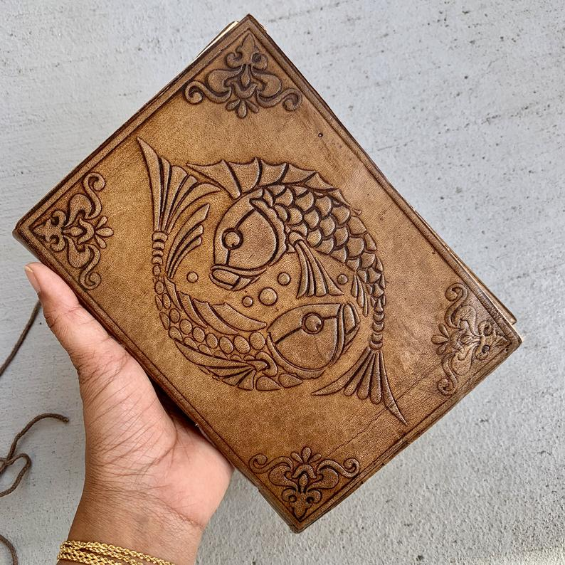 Large Koi Fish Handmade Leather Journal - BohoEntice