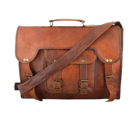 Sam Vintage Brown Single Pocket Briefcase Messenger Bag