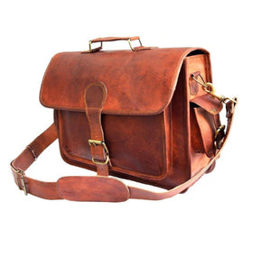 Jackson Men's  Large Pocket Brown Leather Messenger Bag - BohoEntice