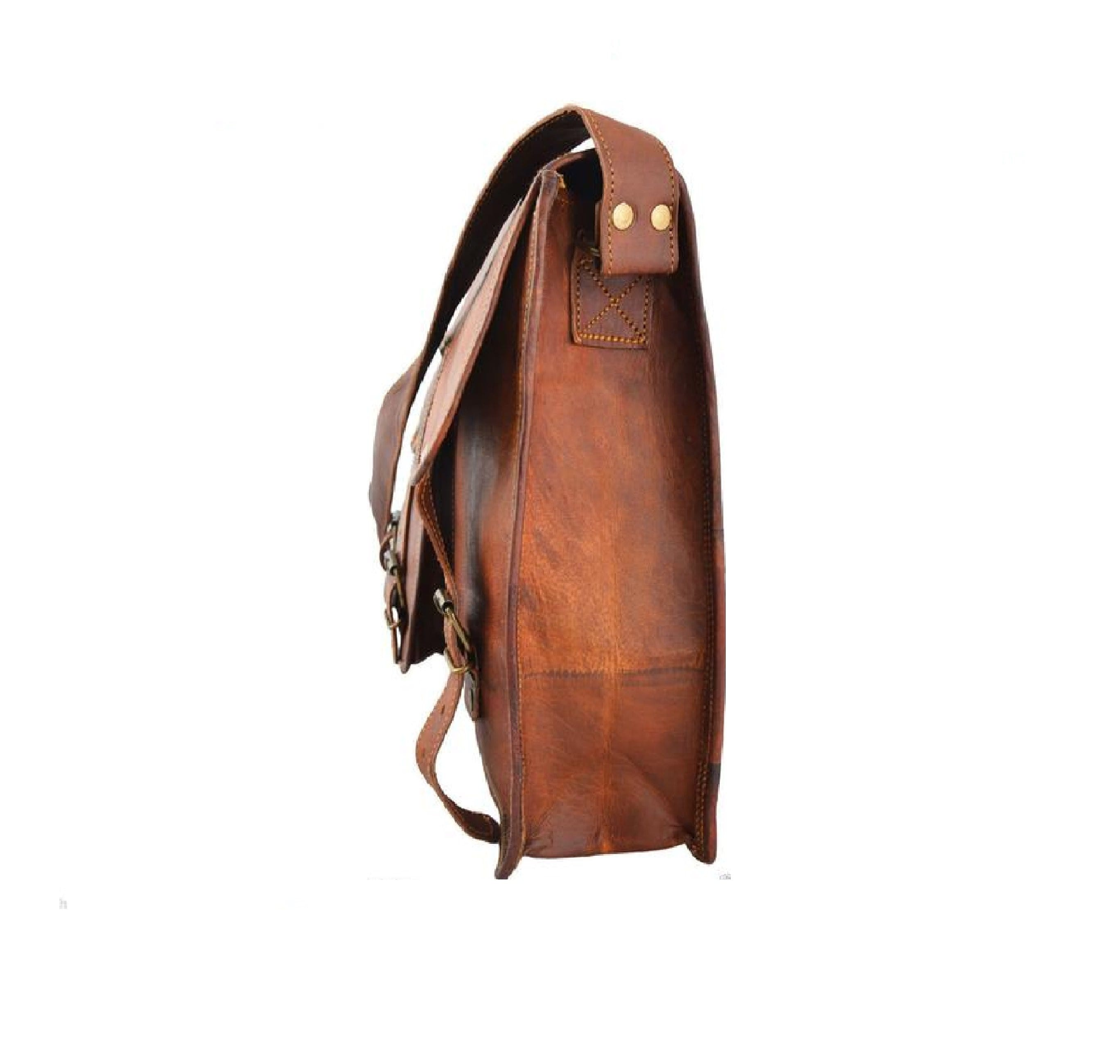 Sam Vintage Brown Single Pocket Briefcase Messenger Bag - BohoEntice