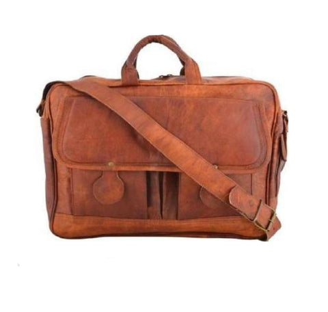 Soft Leather Two Pocket Satchel Messenger Briefcase Bag