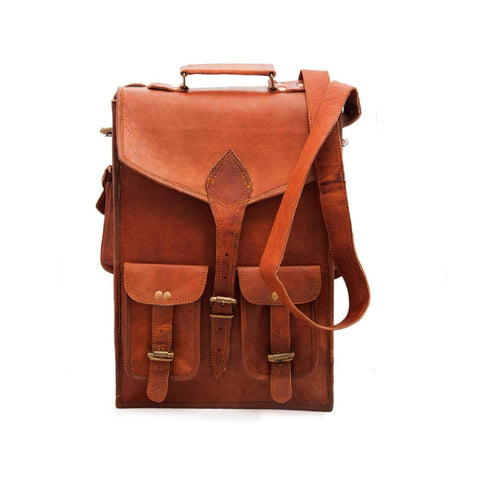 Crossbody Leather Two pocket  Messenger College bag - BohoEntice