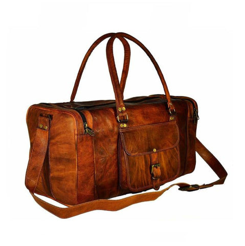 Alan Rustic Brown Traveler Duffel Bag - BohoEntice
