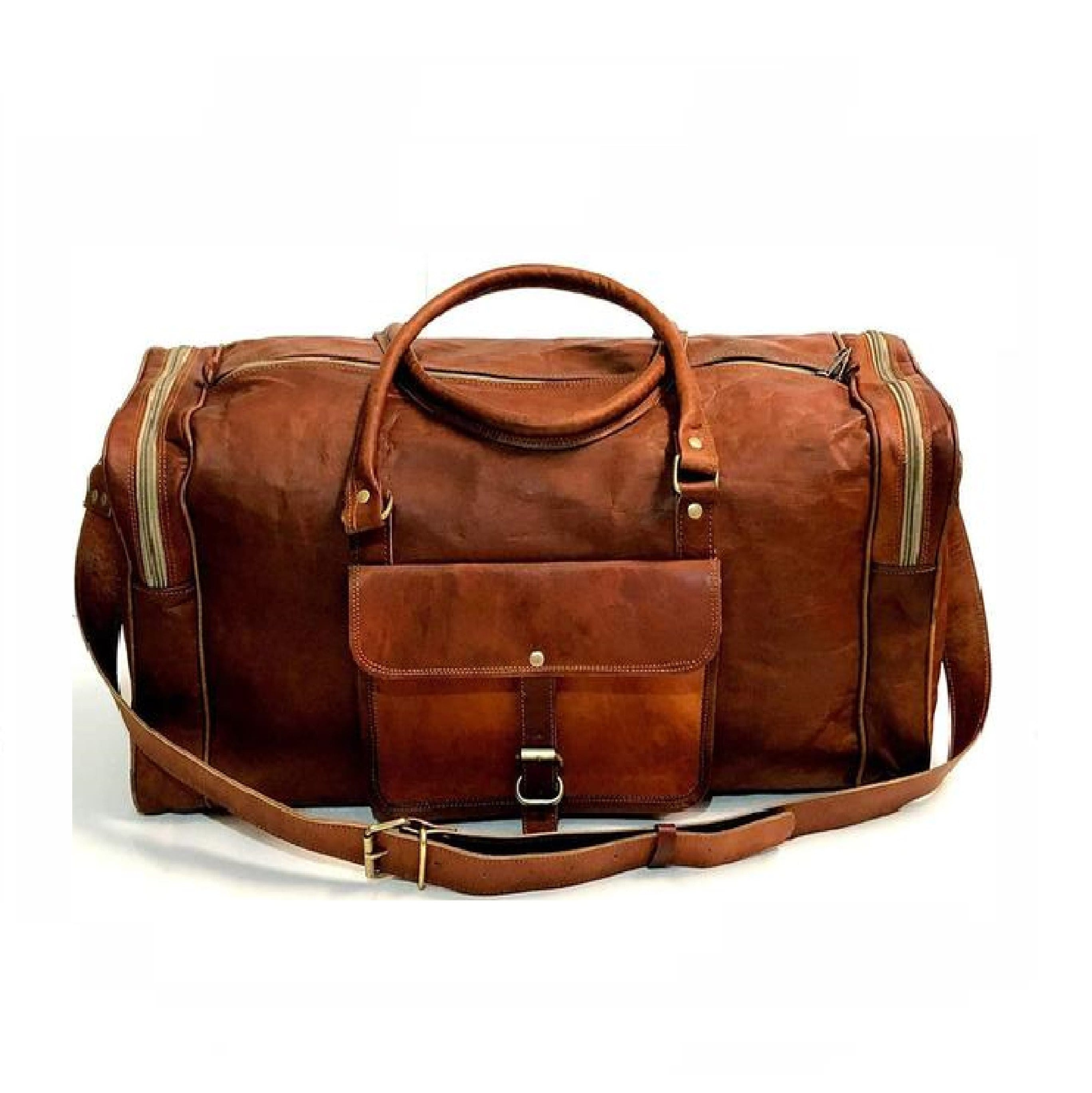 Douglas Brown Leather Duffel Weekender Bag - BohoEntice