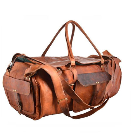 Brown Leather  Weekend  Duffel Gym Bag - BohoEntice