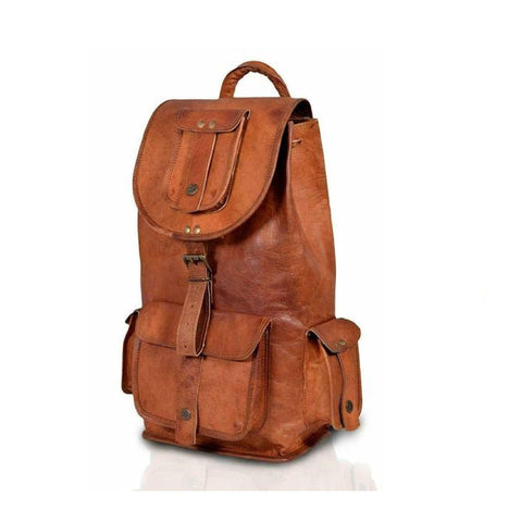 Antonio Retro Brown Rucksack Backpack - BohoEntice