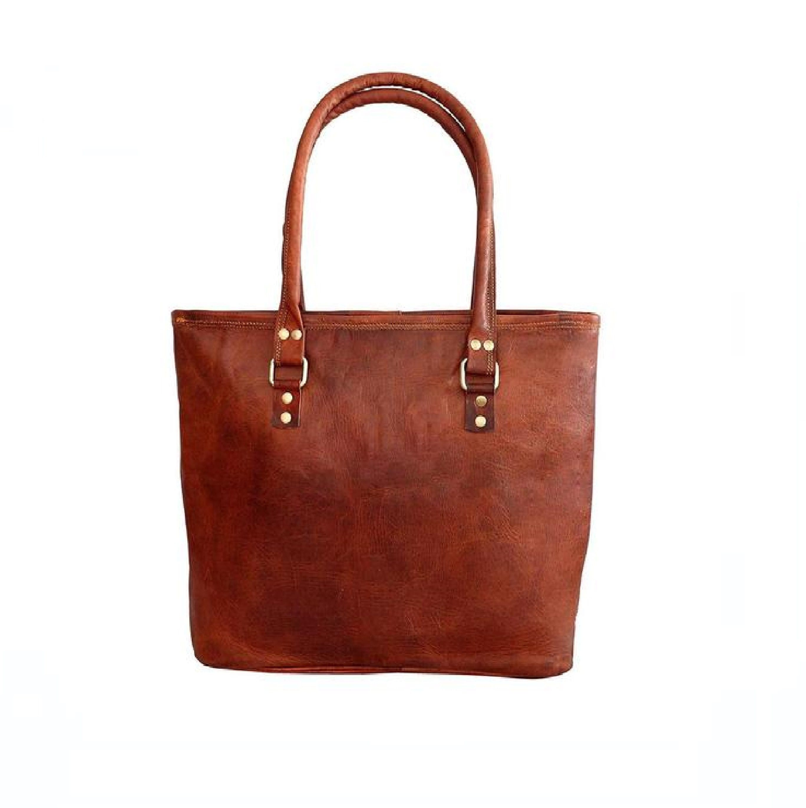 Brown  Leather Women's Tote Bag - BohoEntice