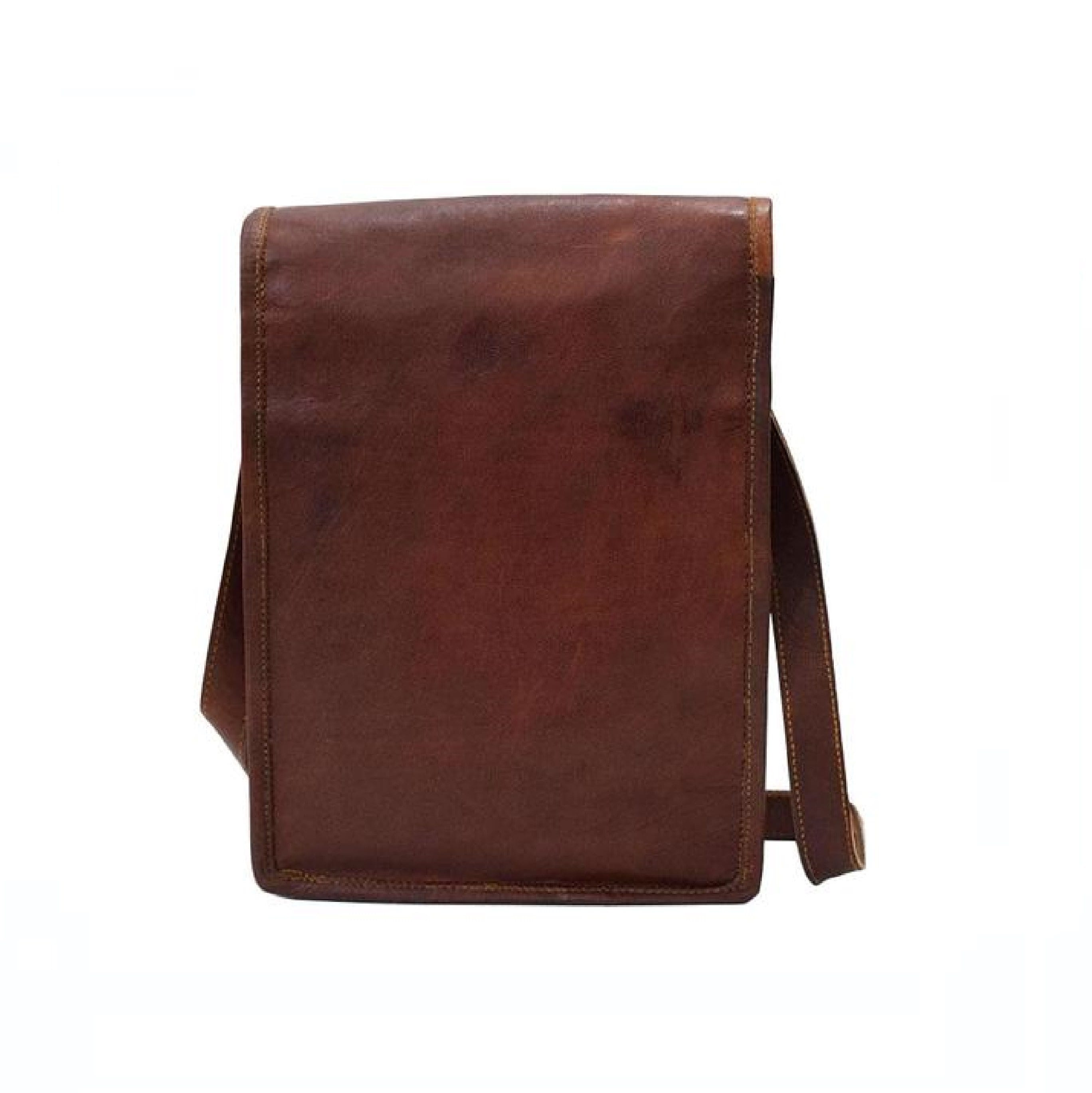 Unisex Brown Single Pocket Sling  Leather Bag - BohoEntice