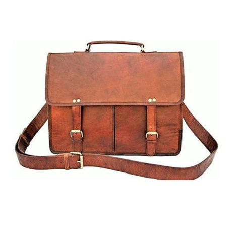 Two Pocket Brown Leather Messenger Bag