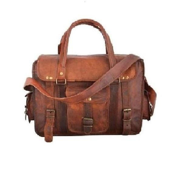 Vintage Single Pocket Briefcase Messenger Bag - BohoEntice
