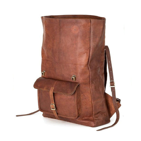 Dylan's Single Pocket Leather Rucksack Backpack - BohoEntice
