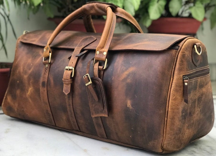 John Premium Full Grain Leather Weekender Bag, Men Women Handmade Travel Duffle