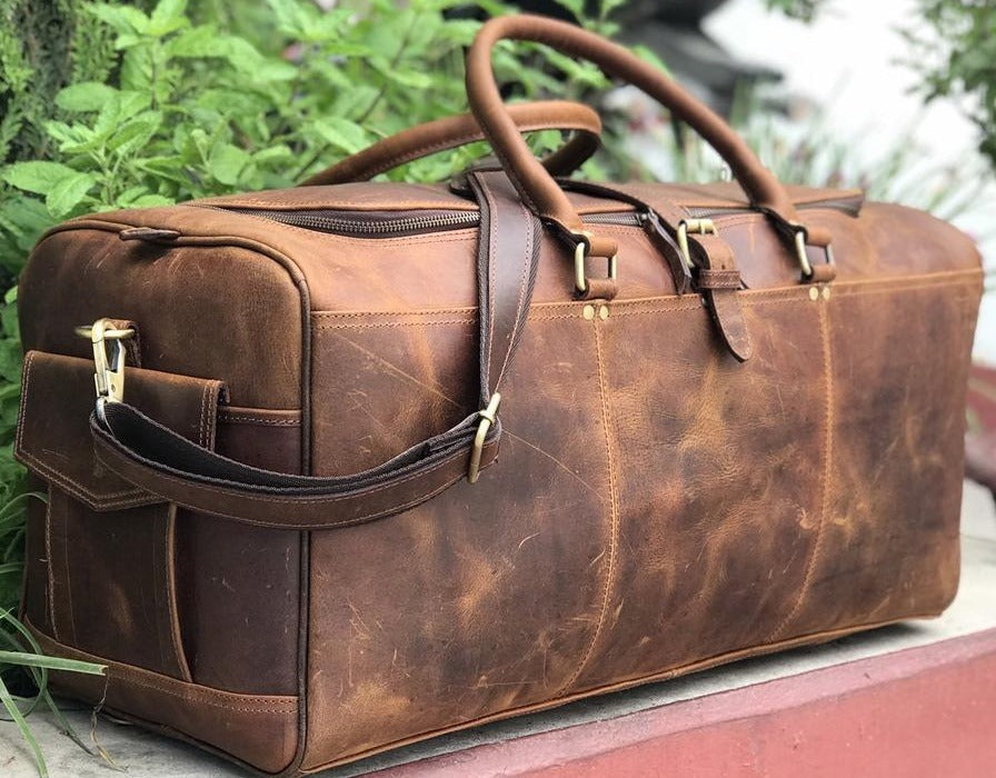 James Full Grain Leather Weekend Bag, Leather Duffle Bag - Halloween Gift