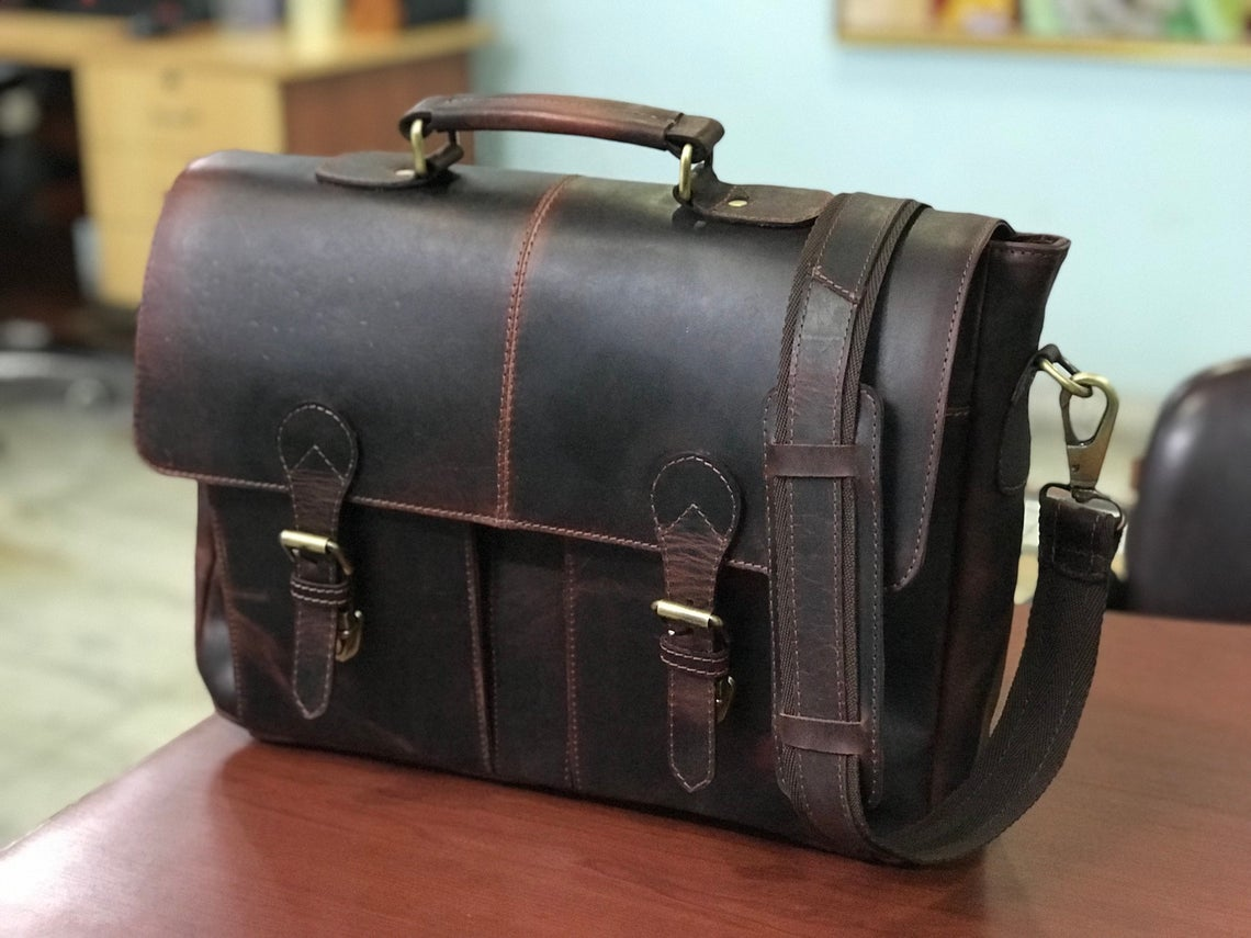 Genuine Hunter Leather Laptop Portfolio Bag, Briefcase Bag - Halloween Gift