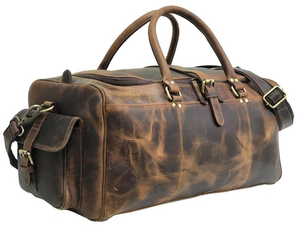 James Vintage Full Grain Leather Weekend Bag, Leather Duffle Bag - Halloween Gift