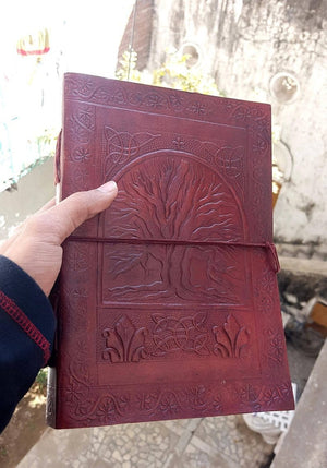 Brown Notebooks Embossed Leather Journals Blank Paper Gift Diaries - BohoEntice