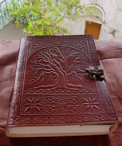Chocolate Brown Embossed Leather   Notebook Sketchbook Handmade Diary Journal - BohoEntice