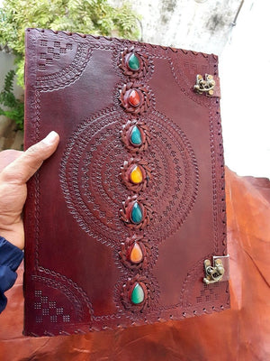 Seven Chakra Leather  Medieval Stone Embossed Handmade Leather Journal - BohoEntice