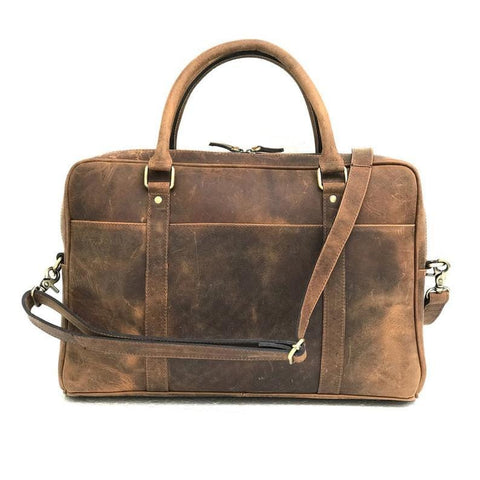 Steven Leather Messenger Briefcase Bag - BohoEntice