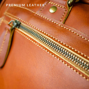 Personalized Large Buffalo Leather Satchel - Messenger Bag - BohoEntice