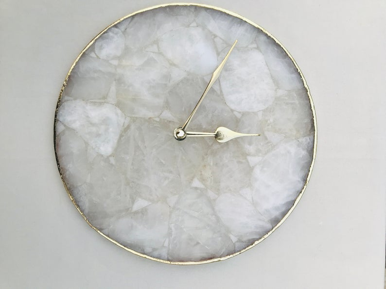 Large Clear Crystal Agate Wall Clock - BohoEntice