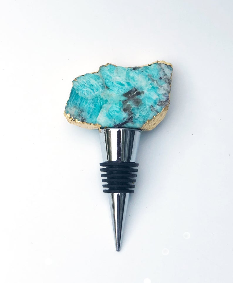 Geode Wine Stopper, Bottle Stopper, Wine, Hostess Gift - BohoEntice
