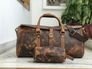 Fathers day Gift Combo Offer: Free Toiletry Wash Bag with 22 Inch Hunter Brown Leather Weekender Bag - BohoEntice