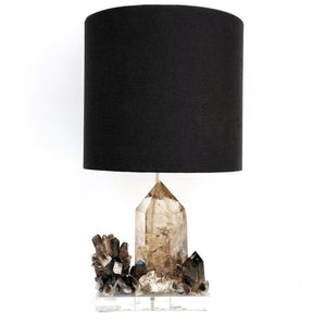 Smokey Quartz Geode Lamp Base, Lighting, Table Lamp - BohoEntice