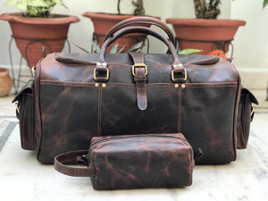 Fathers day Gift Combo Offer: Toiletry Bag with 24 Inch Dark Brown Genuine Hunter Leather Duffle Bag - BohoEntice