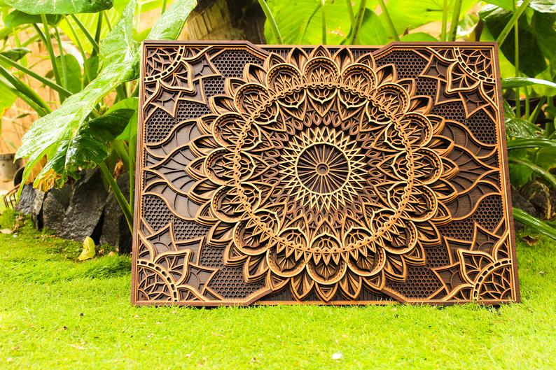 Multilayer Mandala Wooden Wall Hanging, Wall Decor - BohoEntice