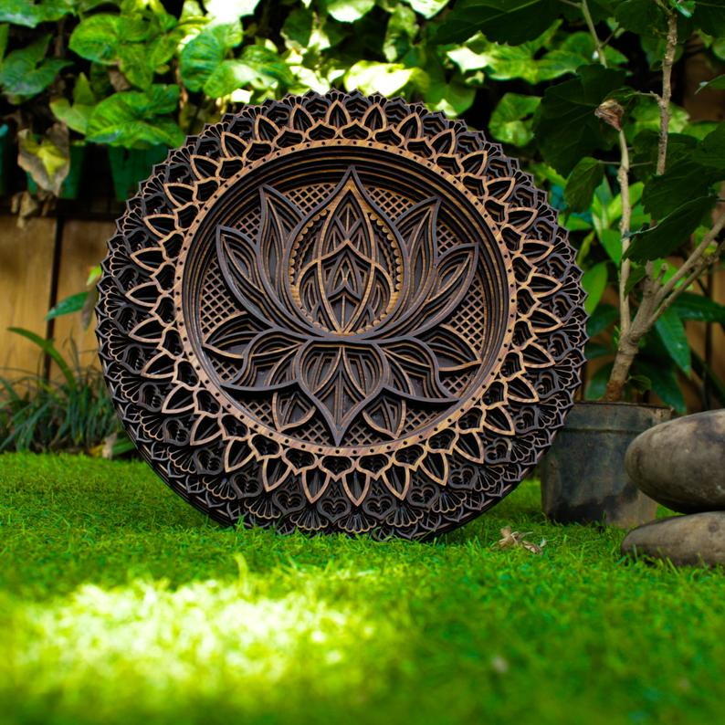 Multilayer Lotus Flower Mandala Wooden Wall Hanging, Wall Decor - BohoEntice