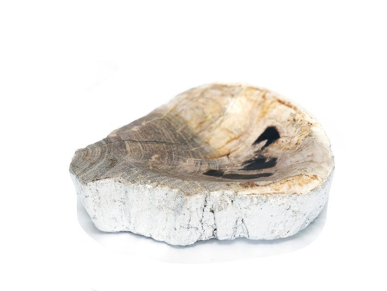 Petrified Wood Dish, petrified wood bowl, bohemian decor - BohoEntice