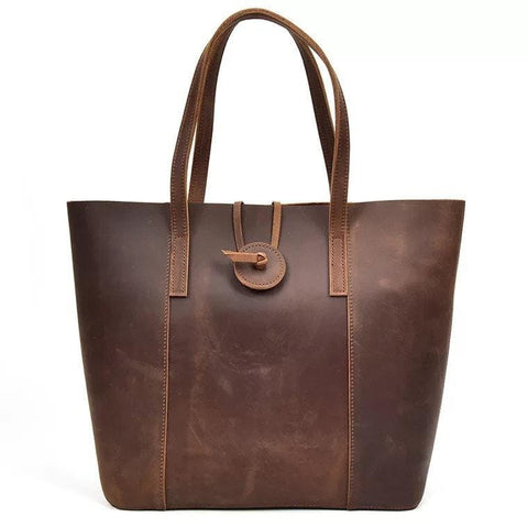Chocolate Brown buffalo Leather Women's Tote Bag - BohoEntice