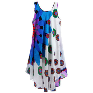 MISSOMO Boho Summer Dress Women  Printed Beach Dress cami Beach Mini party dresses Holiday Retro Vestiod Vintage women dress 614 - BohoEntice