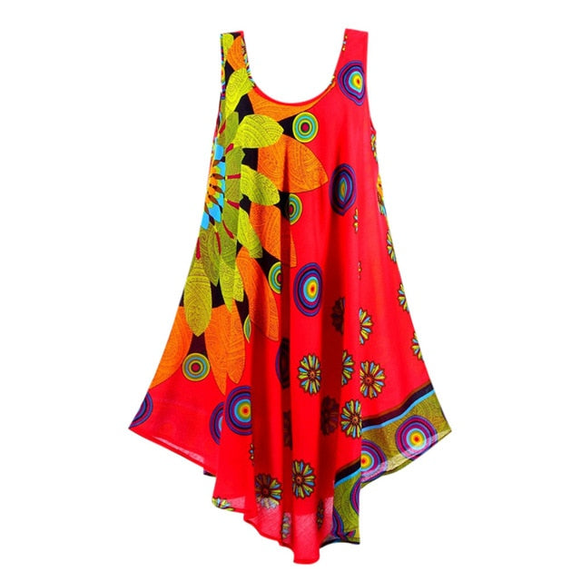 MISSOMO Boho Summer Dress Women  Printed Beach Dress cami Beach Mini party dresses Holiday Retro Vestiod Vintage women dress 614