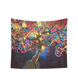 Multicolored Fabric Psychedelic Tapestry Bedroom Living Room Wall Hanging Decoration Blanket - BohoEntice