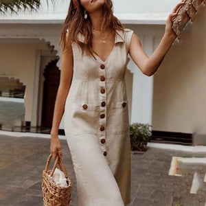 LITTHING 2019 Summer Women's Dresses Fashion Dot Print Boho Dress Feminine Turn-down V-neck Dress Button Pocket Dress Vestidos - BohoEntice