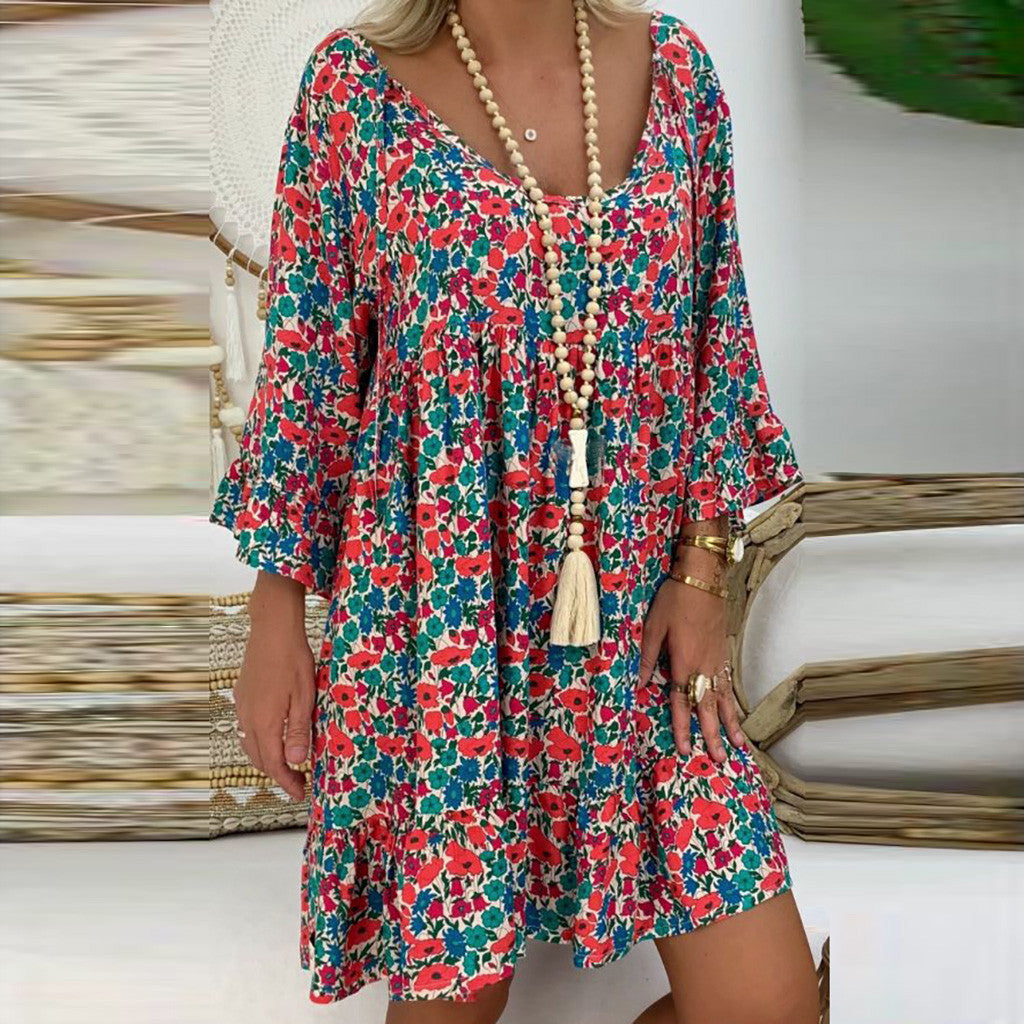Long Sleeve Summer Loose Dress 2019 Thin Boho Beach Dresses Women Tunic Casual Tie V Neck Floral Print Midi Dress Plus Size 5XL - BohoEntice