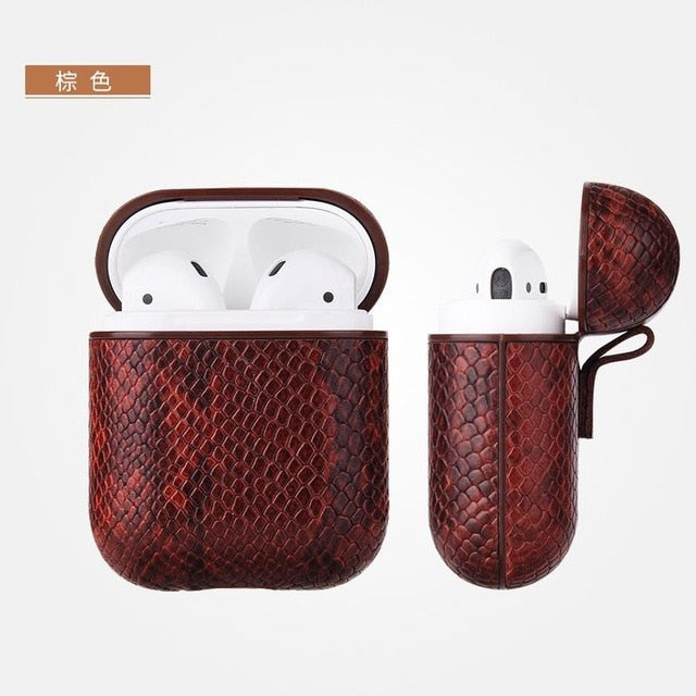 Sexy Snake Skin Bag For Apple AirPods Bluetooth Earphone Leather Case For AirPods Case Charging Hole Headphones Protective Cover - BohoEntice