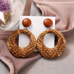 Women cartilage tragus earring fake gauge earrings серьга козелка Bohemian Rattan Geometric Round Earrings Jewelry #4