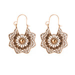 Women cartilage tragus earring fake gauge earrings серьга козелка Vintage Alloy Geometric Openwork Flower Earrings #4 - BohoEntice