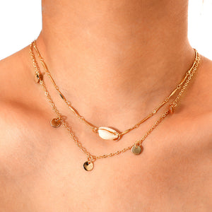 Vintage Shell Gold Necklace Women Handmade Woven Adjustable Boho Hawaii Sea Beach Choker For Girls Jewelry collares de moda