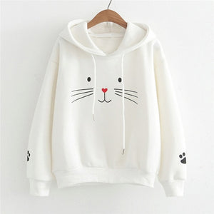 Kawaii Cute Cats Crop Hoodies Fall Women Cat Printed Plus Size Sweatshirt maletom Ladies Long Sleeve Hat Tunic Pink Kpop bangtan - BohoEntice