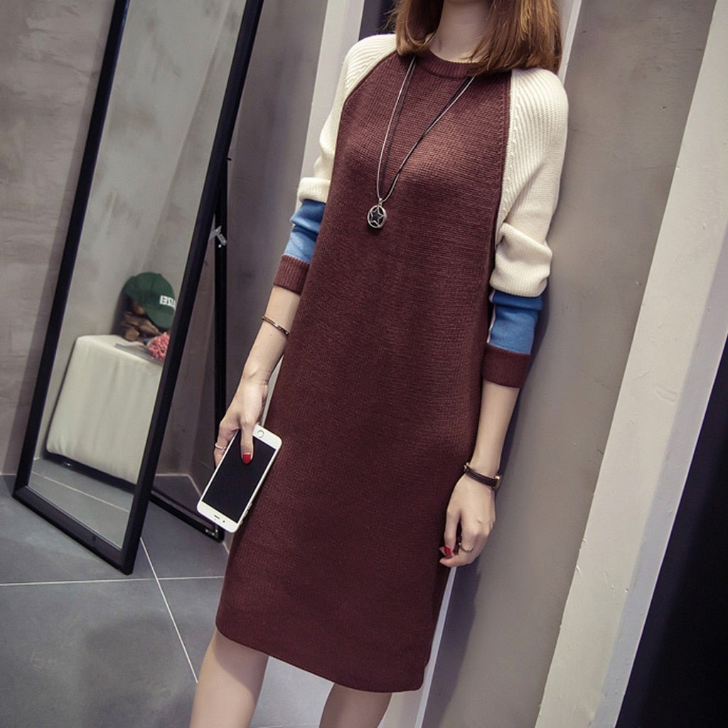 Korean style Women Knitted Dress Autumn Fashion Loose Mini Dress Ladies Vintage Long Sleeve Sweater Mini Dress Vestidos Mujer - BohoEntice