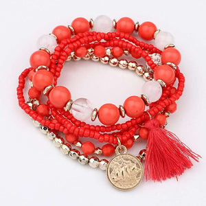 Women fishion bracelet Multilayer Beads Bangle Tassels Bracelets  Gift for ladies Multiple colors bransoletki damskie pulsera - BohoEntice
