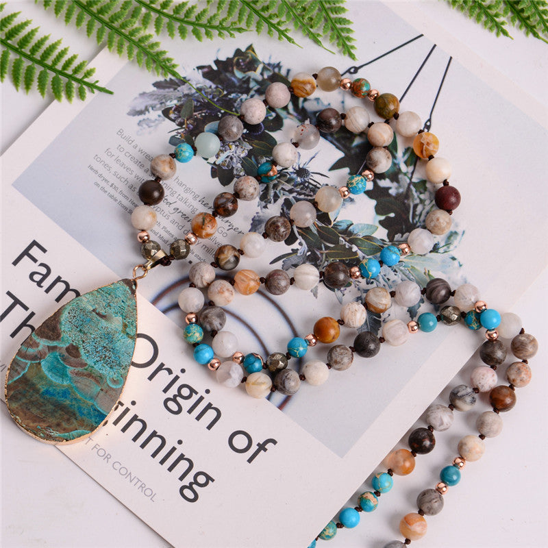 Women's Fashion Handmade Boho Necklace Mix Natural Stones Big Teardrop Pendant Necklace Lariat Beads Knotted Bohemia Necklace - BohoEntice