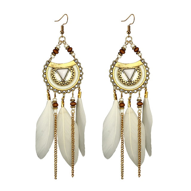 Women Earrings Vintage Fashion Jewelries Ornaments Tassel Earrings Ethnic Style Feather Long Earring Exquisite Bijoux Pendant - BohoEntice