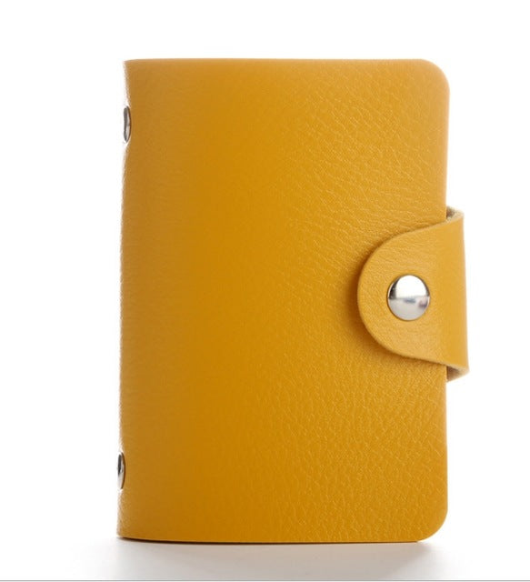 New Purse PU Leather 24 Bits Card Case Women Business Bank Card Holder Men Credit Passport Card Bag ID Passport Card Wallet H088 - BohoEntice