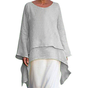 Plus Size women's t-shirts Irregular Linen Long Sleeve t shirt femme 2019 Crew Neck women's clothing summer vestidos de  #G8+1 - BohoEntice